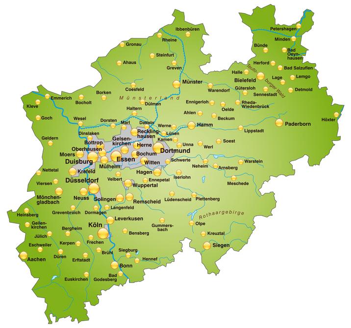 Landkarte Nordrhein-Westfalen